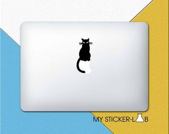 Black Cat MacBook Decal Cat MacBook Sticker Black Cat Sticker Cat Decal Cat Vinyl Sticker Cat Sitting Apple Logo Decal Pet Animal m728