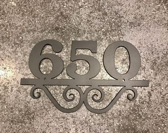 Metal House Number with 3 Numbers and Scrolls / Metal Address Sign / Address Numbers
