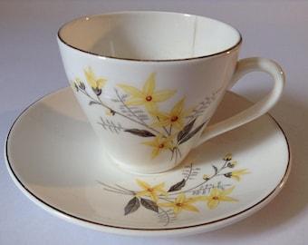 Tea Cup & Saucer - Yellow Flower