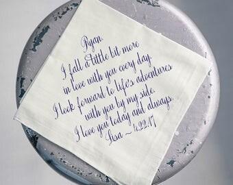Wedding Handkerchief, Groom Handkerchief, Husband Handkerchief, Fiance, Hankie Gift, NAVY Printed Custom Handkerchief, Hankerchief, 49