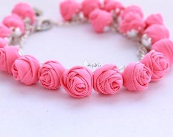 Fabric bracelet Rose bracelet Pink fabric jewelry Flower bracelet Floral jewelry Clusters bracelet Friendship bracelet Textile bracelet