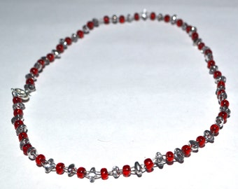 Red and Silver Wire Bracelet