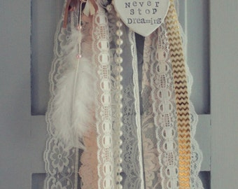 Vintage Bohemian Style Lace & Pearls Gold Cream Dreamcatcher Mobile Never Stop Dreaming