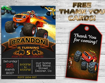 Blaze and the Monster Machines invitation + thank you Blaze invitations Blaze birthday invitation Blaze party printables Machines birthday
