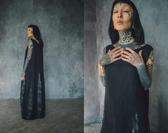 Long black tie dye dress, summer dress, casual dress, hand dyed linen, tunic dress, organic linen dress, black designer dress, sleevless