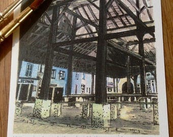 Les Halles, Villebois-Lavalette, France (print of pen and ink drawing with watercolour) . Architecture Market-place