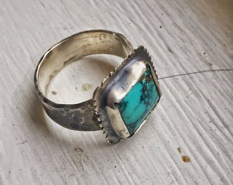 HANDMADE men's Torqouise silver patina ring