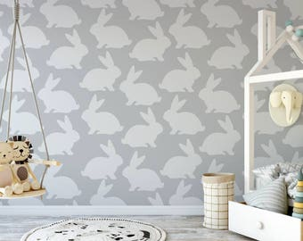 Gray Bunny Peel and Stick Wallpaper
