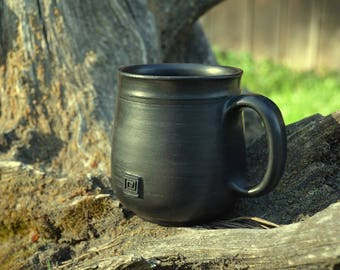 Coffee cup | Ceramic coffee mug | Pottery mug | Black color pottery | Handmade mug | Stoneware mug | Glossed drinkware | Handmade drinkware
