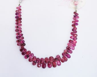 AAA quality Natural Pink Tourmaline Faceted Tear Drops Briolettes Beads / 3x4-6x10 mm / 7 inches