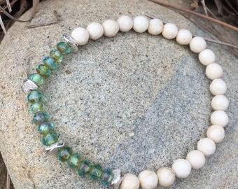 Cream Riverstone with Aqua Czech Picasso beads stretchy bracelet