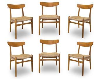 Set of Six Hans Wegner Oak & Teak Dining Chairs Made by Carl Hansen Model CH-23