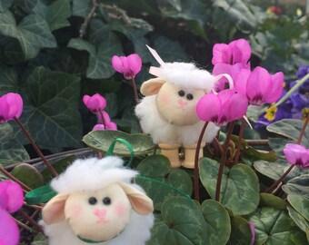 TINY WOOLIE SHEEP 2 inches tall,  soft sculpted sheep, sheep doll, mini fabric sheep