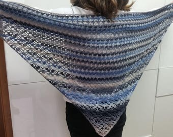 Handmade silk and wool shawl.