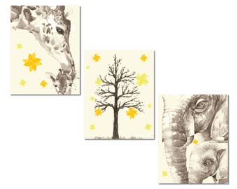 Elephant and Giraffe Baby Nursery Decor, Set of Three Gallery Wrapped Canvas, Yellow and Gray, Baby Elephant and Giraffe, Watercolor Animal