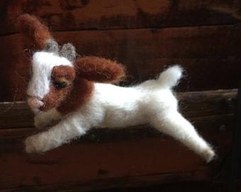 Boer Goat Kid, Handmade, Needle felted