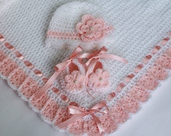 Crochet Baby Blanket, Hat and Booties White and Salmon Pink, Christening Baby Girl Baby Shower Gift Satin Ribbon Flower and Pearl