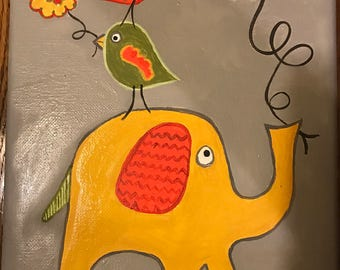 Ellie- elephant and bird nursery painting