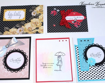 Handmade BIRTHDAY GREETING CARDS Set of 5 - Stampin Up
