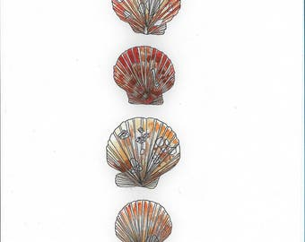 Set of Three Original Red/Brown/Cream Watercolour Shell Painting High Quality A4 Print