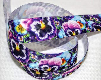 Flower Pansy Grosgrain Ribbon 3 Yards 7/8 inch wide