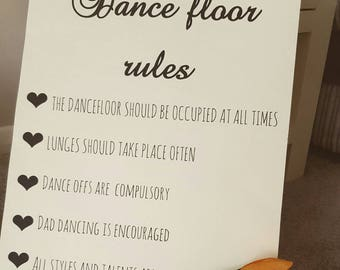 Vintage shabby chic A3 wedding sign Dance Floor Rules