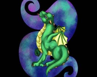 Curious Baby Dragon Print