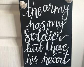 Army wife chalkboard sign