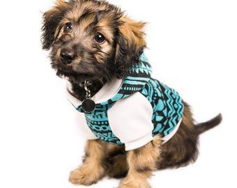 Tribal print dog sweatshirt, cotton-spandex, designer, dog apparel, hoodie, xs, toy breed, small dog