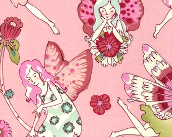 Alexander Henry Flower Fairy Fairies on Pink 100% Cotton Fabric - FQ