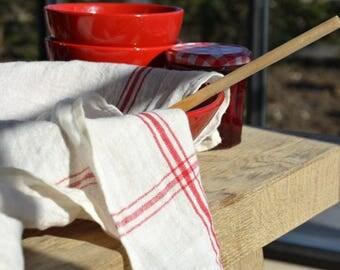 "Belgian linen Confiture tea towel kitchen towel cream and red striped 100% linen 33.5""x33.5"""