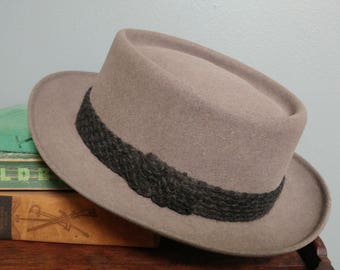 Vintage Knox Pork Pie Hat // Grey Felt Men's Vintage Fedora Hat