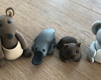 Edible Fondant 3D Koala, Wombat, Kangaroo, Platypus Cake topper Decoration