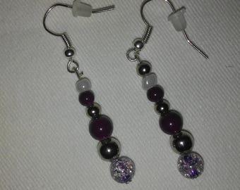 Maroon, silver and purple earrings, 1 inch dangle, blue earring