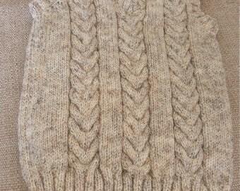 Hand knitted aran slipover