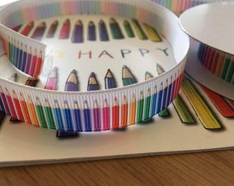 Grosgrain ribbon, printed with pencil design, 15mm, by 1m lengths