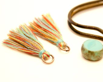 2 multicolor pompons, Turquoise ring metal copper