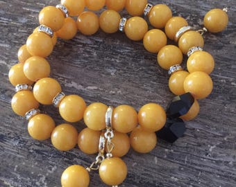 Yellow Jade Bracelet with Swarovski crystals, bracelet set