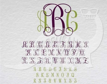 Interlocking Vine Monogram Font download layered cutting files die cut decal vinyl cutter cricut silhouette svg dxf eps jpeg format