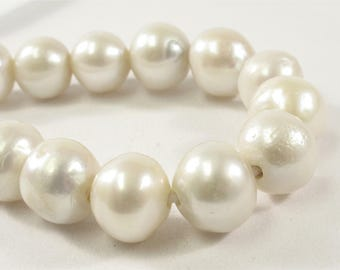 11-13 mm Half Strand Large Hole Natural White Baroque Pearl 2mm Hole Natural Baorque Pearl Rare Cultured Edison Pearl (256-BQW1112)