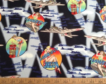 Pin-up girls cotton fabric by the yard