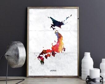 Japan Art Japan Wall Art Japan Wall Decor Japan Photo Japan Print Japan Poster Japan Map Country Map Watercolor Map Country Map Print