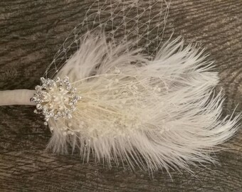 Vintage Inspired Feathered Wedding Hair Clip with Rhinestones, Pearls and Birdcage Lace