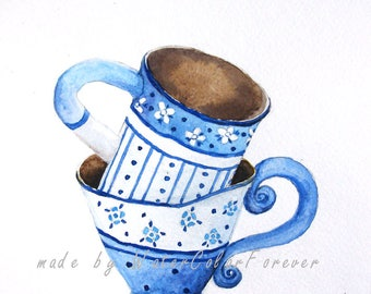 Original watercolor, painting, blue Cup, tea pair, watercolor, gift, wall art, painting for kitchen, kitchen decor, watercolor cup
