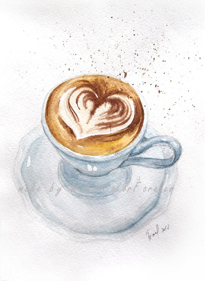 Coffee cup painting original watercolor morning for Coffee watercolor