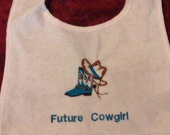 Embroidered Future Cowgirl Bib