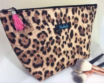 Leopard Make up Bag, Cosmetic Bag, Large Toiletry Bag, Travel Bag, Makeup Bag, Made in Australia. Leopard Print, Large Cosmetic Bag.