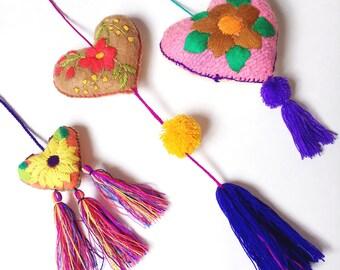 Mexican Felt Heart / Heart Pom Pom / Heart Decor / Mexican Embroidered Felt Heart / Embroidered Heart Ornament