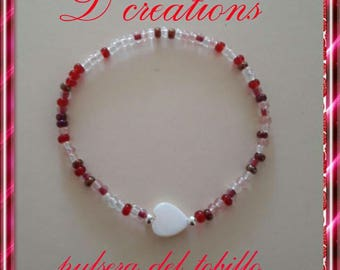 Bracelet of ankle with heart in nacre