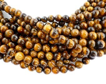 Natural Round Smooth Tigereye /Minerals/ Strand